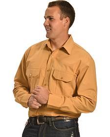 Cowboy Legend Men's Tan Ripstop Western Work Shirt