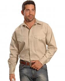 Crazy Cowboy Men's Natural Stone Western Work Shirt - Big & Tall