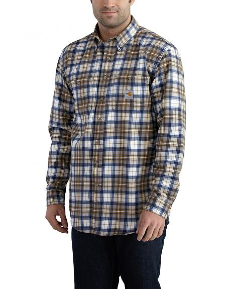 Carhartt Men's Flame Resistant Blue Brown Classic Plaid Shirt - Big & Tall