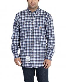 Carhartt Men's Flame Resistant Navy Classic Plaid Shirt - Big & Tall