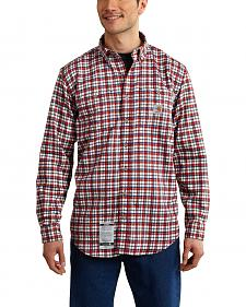 Carhartt Men's Flame Resistant Dark Red Classic Plaid Shirt - Big & Tall