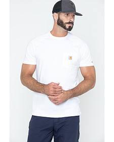 Carhartt Men's Force Cotton White Short Sleeve Shirt - Big & Tall