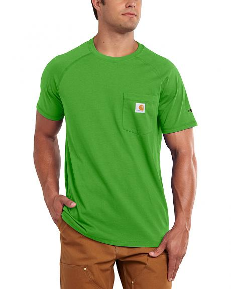 Carhartt Men's Force Cotton Moss Green Short Sleeve Shirt - Big & Tall