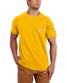 Carhartt Men's Force Cotton Yellow Short Sleeve Shirt - Big & Tall