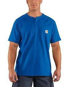 Carhartt Men's Force Cotton Blue Henley Shirt - Big & Tall