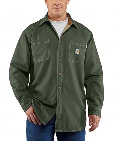 Carhartt Moss Green Flame Resistant Canvas Shirt Jacket - Big & Tall