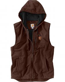 Carhartt Men's Dark Brown Knoxville Hooded Vest - Bog & Tall