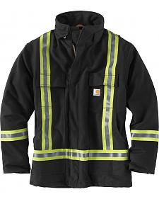 Carhartt Men's Black High-Visibility Striped Duck Traditional Coat - Big & Tall