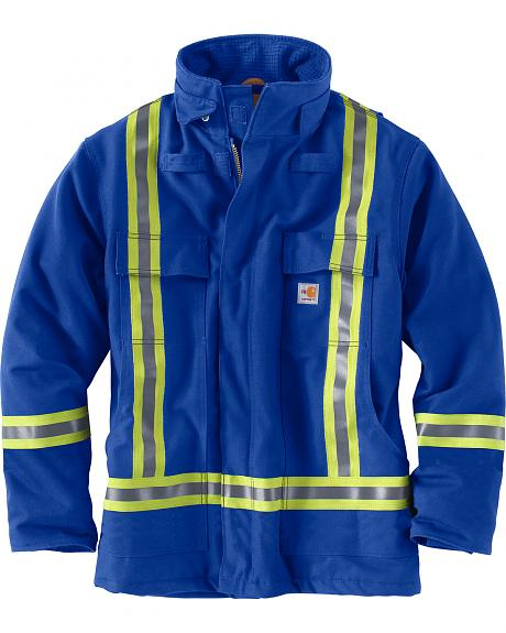 Carhartt Men's Blue Flame-Resistant Striped Duck Traditional Coat - Big & Tall