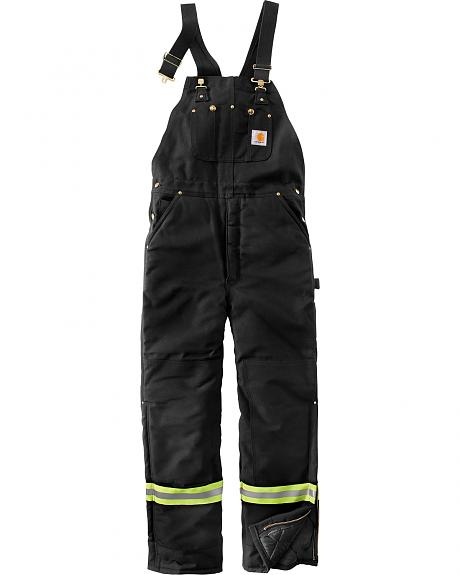 Carhartt Men's High-Visibility Striped Duck Bib Lined Overalls