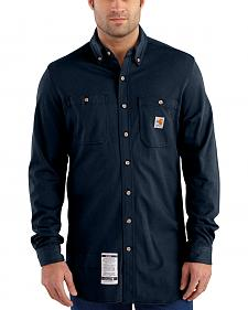 Carhartt Men's Navy Flame-Resistant Force Cotton Hybrid Shirt