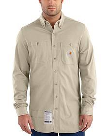 Carhartt Men's Sand Flame-Resistant Force Cotton Hybrid Shirt - Big & Tall