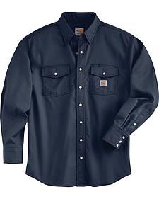 Carhartt Men's Flame Resistant Navy Snap Front Shirt - Big & Tall