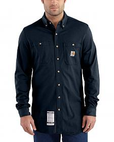 Carhartt Men's Navy Flame-Resistant Force Cotton Hybrid Shirt - Big & Tall