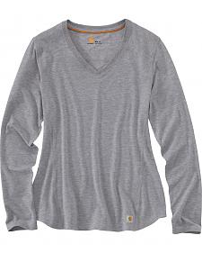 Carhartt Women's Grey Force Performance Long Sleeve V-Neck Tee
