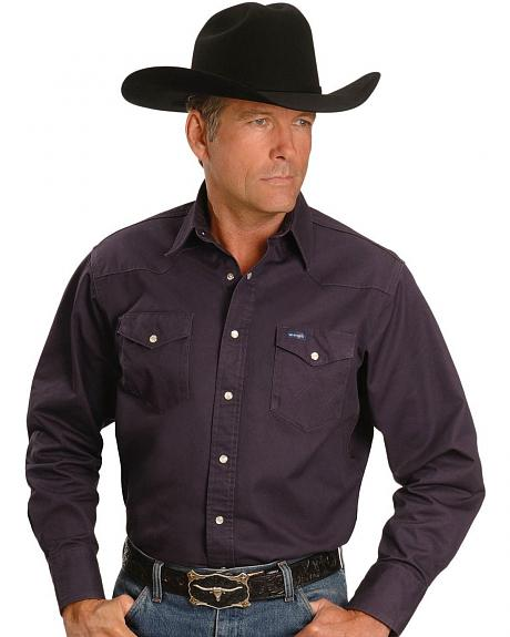 Wrangler Black Garnet Cowboy Cut Western Work Shirt - Tall