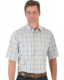 Wrangler Men's Gold & White Plaid Rugged Wear Wrinkle Resist Shirt