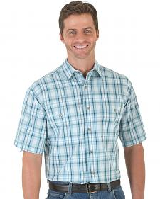 Wrangler Men's Teal Plaid Rugged Wear Wrinkle Resist Shirt