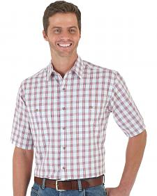 Wrangler Men's Red & White Plaid Rugged Wear Wicking Shirt