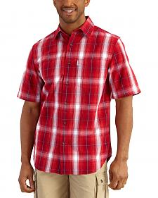 Carhartt Men's Red Essential Plaid Open Collar Short Sleeve Shirt - Big & Tall