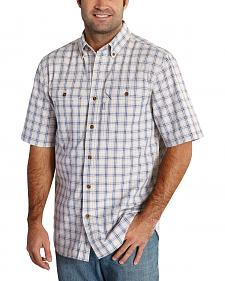 Carhartt Men's Grey Fort Plaid Short Sleeve Shirt