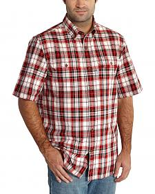 Carhartt Men's Red Fort Plaid Short Sleeve Shirt