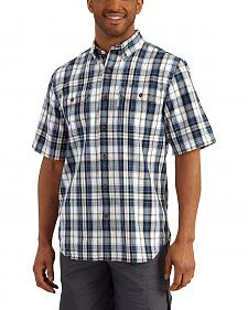 Carhartt Men's Navy Fort Plaid Short Sleeve Shirt - Big & Tall