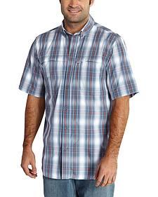Carhartt Force Mandan Steel Blue Plaid Short Sleeve Work Shirt