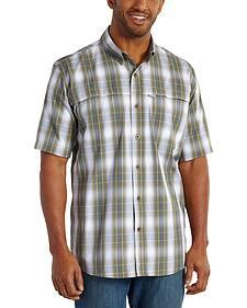 Carhartt Force Mandan Olive Green Plaid Short Sleeve Work Shirt - Big & Tall