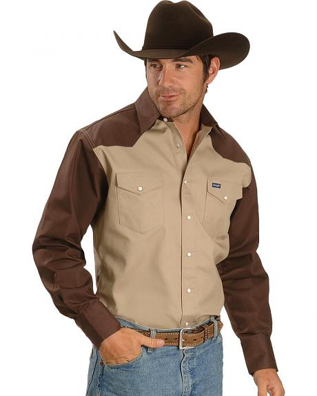 Sheplers Exclusive - Wrangler Two-Tone Work Colorblock Shirt - Tall