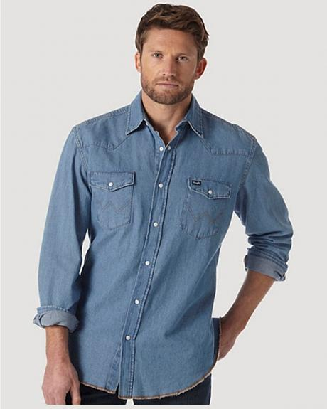 Wrangler Stonewash Denim Work Shirt