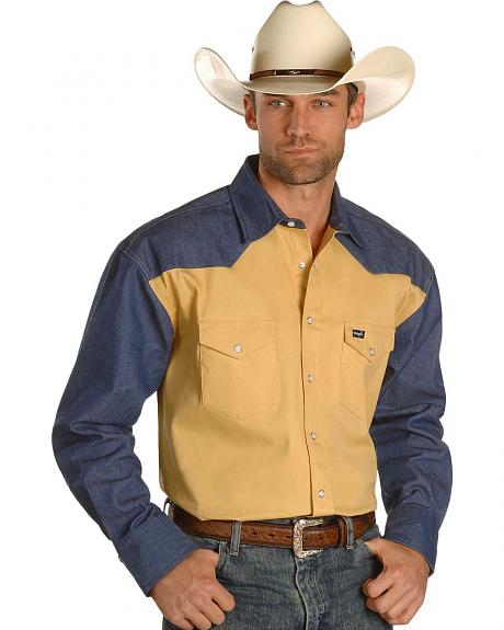 Sheplers Exclusive - Wrangler Colorblock Work Shirt - Big