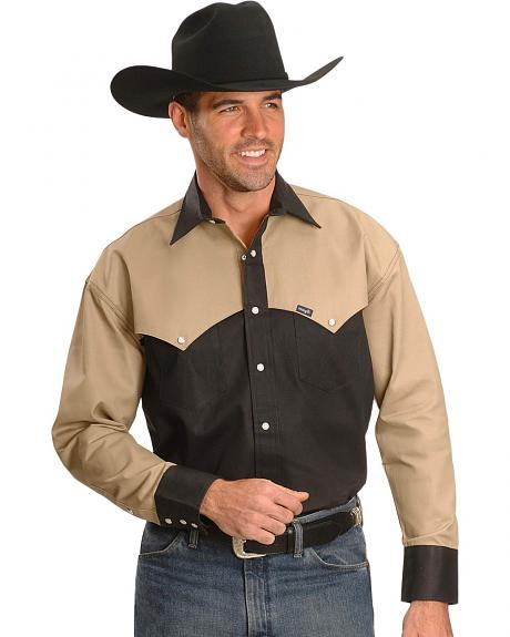 Sheplers Exclusive - Wrangler Cape Pocket Colorblock Western Shirt - Tall