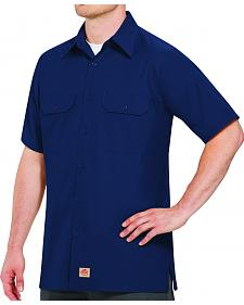 Red Kap Men's Navy Rip Stop Short Sleeve Work Shirt