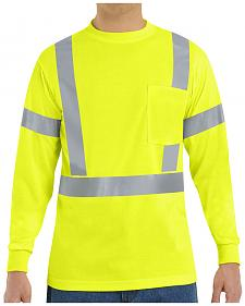 Red Kap Men's Class 2 Hi-Viz Long Sleeve Safety T-Shirt - Big & Tall