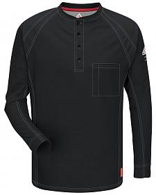 Bulwark Men's Black iQ Series Flame Resistant Henley Shirt