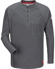 Bulwark Men's Grey iQ Series Flame Resistant Henley Shirt