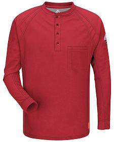 Bulwark Men's Red iQ Series Flame Resistant Henley Shirt