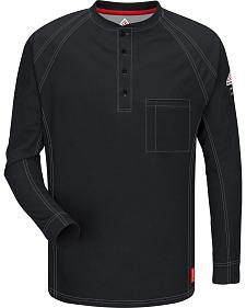 Bulwark Men's Black iQ Series Flame Resistant Henley Shirt - Big & Tall