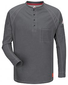 Bulwark Men's Grey iQ Series Flame Resistant Henley Shirt - Big & Tall