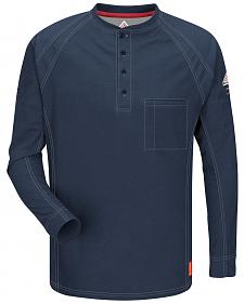 Bulwark Men's Dark Blue iQ Series Flame Resistant Henley Shirt - Big & Tall