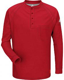 Bulwark Men's Red iQ Series Flame Resistant Henley Shirt - Big & Tall