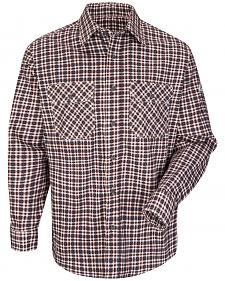 Bulwark Men's Burgundy Plaid Flame Resistant Uniform Shirt
