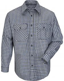 Bulwark Men's Navy Plaid Flame Resistant Uniform Shirt