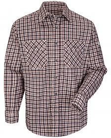 Bulwark Men's Burgundy Plaid Flame Resistant Uniform Shirt - Big & Tall