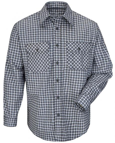 Bulwark Men's Navy Plaid Flame Resistant Uniform Shirt - Big & Tall