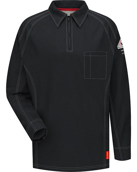 Bulwark Men's Black iQ Series Flame Resistant Long Sleeve Polo