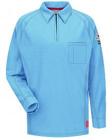 Bulwark Men's Blue iQ Series Flame Resistant Long Sleeve Polo
