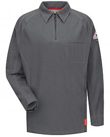 Bulwark Men's Grey iQ Series Flame Resistant Long Sleeve Polo