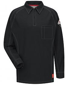Bulwark Men's Black iQ Series Flame Resistant Long Sleeve Polo - Big & Tall